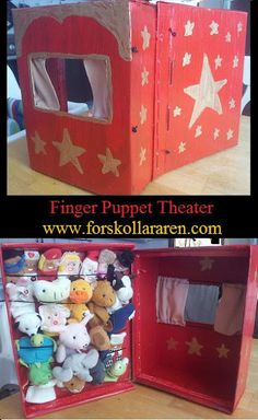 I'm currently making a bunch of finger puppets... he could make the theater...not necessarily this one, but something like it. I really dig being able to store the puppets inside of it.