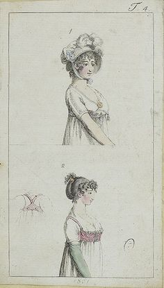 1801, English. Figure 2 shows a vest-like overbodice, front and back. Also a hairstyle.