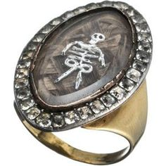 Mourning ring | Georgian Jewelry, England, late 18th century •~• the background is made from woven hair, but I don't know what the skeleton is made from.