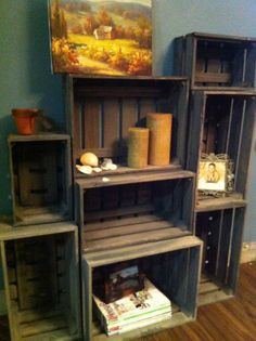 wooden crate shelves. via Etsy. LOVE!