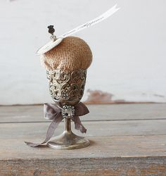 Burlap Pin Cushion in Vintage Silver Plate Filigree Cup
