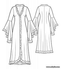 free pattern, белье, пеньюар, pattern sewing, халат, выкройки скачать, Скачать…