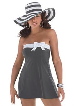 Side Bow Swimdress in Plus sizes