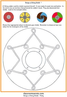 Worksheet activity to design a viking shield. Aimed at Primary Key Stages 1 and 2. Differentiated six ways. More
