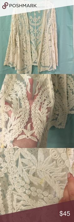 Embroidered Cream Kimono Beautiful - words can't describe how gorgeous and unique this kimono is! Gorgeous embroidered detail with cream mesh connecting it all. Some minor flaws are noted in the pictures. There's no size tag and this was from a boutique - I wear an 18/20 and this fits snug - best for an 14-18! Tops