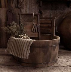 Old Wooden Washtub and Washboard and Clothes Wringer