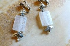 White Crackled Agate Clip Earrings with by ArtforPeopleandPlace, $7.00