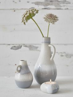 Arctic Vases The ceramic vases are hand-made and textured with sand and minerals to give them a truly special texture and part finished with a beautiful glaze. #nordichouse #vases