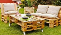 Wooden Pallet Furniture - DIY Pallet Garden Ideas, Pallet Projects - Part 5  pallet patio furniture table with wheels chair and two seated couch