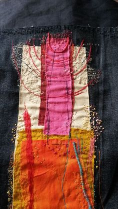 -Stitching on pocket? Perhaps rushcutter dress… Stitching on pocket? Perhaps rushcutter dress… See it Fiber Art Quilts, Textile Fiber Art, Textile Artists, Sashiko Embroidery, Embroidery Art, Embroidery Stitches, Fabric Art, Fabric Crafts, Art Fibres Textiles