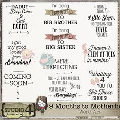 9 Months to Motherhood - Word Art Verses