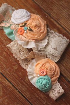 Rustic Country Lace Peaches Cream Wedding Garter by dustyLuck I think these would make cute head bands lol Cream Wedding, Diy Wedding, Rustic Wedding, Wedding Crafts, Wedding Ideas, Fabric Rosette, Wedding Garter Set, Holiday Costumes, Here Comes The Bride