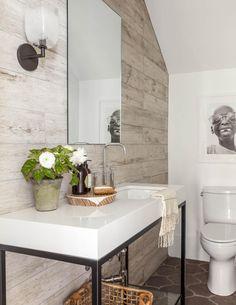 plank wood porcelain tile backsplash (floor to ceiling)