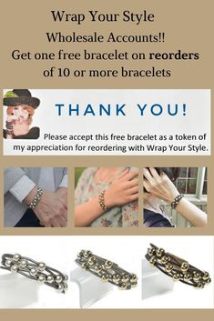"Wholesale Accounts! Is your first order from Wrap Your Style a hit with your customers? Then you need to reorder! I give one free bracelet for every reorder of 10 or more bracelets. My ""thank you"" for your business!  #wrapyourstyle #handmadejewelry #bracelets #leatherbracelets #boutiquefashion #bohochic #wholesalebracelets #signaturestyle"