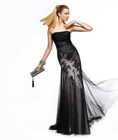 Pronovias presents the Zinc cocktail dress from the 2013 Long collection. Black lace bridesmaids dress