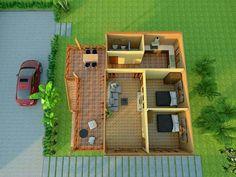 สวยมาก!! แบบบ้านสไตล์ชนบท บ้านไม้สองชั้น ขนาด 2 ห้องนอน | Thai Let's GO Village House Design, Village Houses, Exterior Design, Interior And Exterior, 3d House Plans, Small Kitchen Tables, Tin House, Contemporary House Plans, Farm Stay