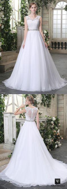 Elegant tulle scoop neckline lace appliques a-line wedding dresses. The neck with lace appliques is beautiful. (WWD42001) - Adasbridal.com