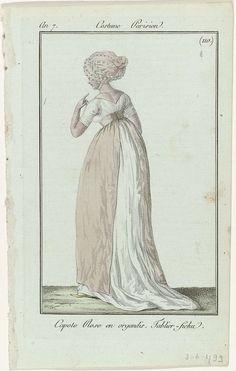 Journal des Dames et des Modes, Costume Parisien, 3 juin 1799, An 7 (110) : Capote Rose en organdis..., Anonymous, Sellèque, Pierre de la Mésangère, 1799