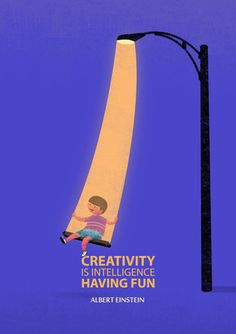 Creativity Is Intelligence Having Fun- Albert Einstein Quote Art Print by Tang Yau Hoong | Society6