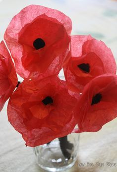 Make tissue paper poppies flowers flower arranging pinterest diy tissue paper poppies for memorial remembrance day mightylinksfo