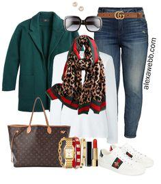 Plus Size Gucci Scarf Outfit Ideas Jeans Gucci Belt Green Blazer White T-Shirt Gucci Sneakers Alexa Webb Plus Size Fashion for Women - Women Plus Size Shirts - Ideas of Women Plus Size Shirts Gucci Sneakers Outfit, Sneaker Outfits Women, Gucci Outfits, Chic Outfits, Fall Outfits, Fashion Outfits, Shoes Sneakers, Black Leggings Outfit, Legging Outfits