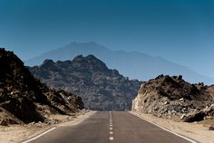 Taken while crossing the mountains between Berenice and Aswan. Upper Egypt. This is the new tarmac road completed in 2009. The traffic was low, just few vehicles a day.