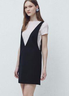 Pinafore dress with t-shirt | MANGO