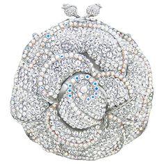 Swarovski Crystal Round Flower Clutch Bag Clear
