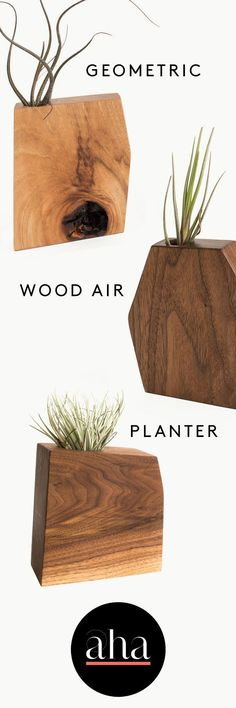 These modern, geometric #planters are perfect for a sleek, contemporary, but warm home. Crafted from hickory, ash, and walnut wood by Boyce Studio in Los Angeles, CA. #artsandcrafts