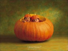 Two adorable babies in a huge pumpkin - Anne Geddes