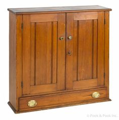 """Stained pine hanging cabinet, 19th c., 36"""" h., 36"""" w."""