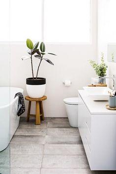plant + bathroom love