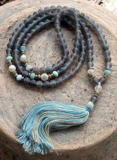 Your place to buy and sell all things handmade - Frosted Agate Mala necklace - Tassel Jewelry, Yoga Jewelry, Leather Jewelry, Beaded Jewelry, Jewelery, Handmade Jewelry, Jewelry Necklaces, Jewelry Holder, Crystal Jewelry