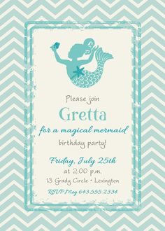 MAGICAL MERMAID in CHEVRON Birthday Invitation by theteacookie, $15.00
