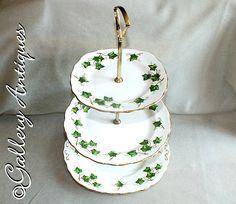 Vintage Colclough Ivy Leaf Pattern 3 Tier handled Cake Stand with Original Box 3 Tier Cake Stand, Vintage Tableware, Ivy Leaf, Vine Design, Side Plates, Etsy Uk, Brushed Stainless Steel, Cut Glass, Etsy Vintage