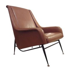 Pierre Guariche; Enameled Metal and Leather Lounge Chair, 1950s.