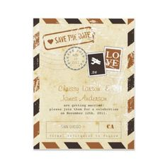 Save the Date options - Vintage Airmail Card Save the Date Personalized Announcements, love these! It may possibly have to do with my love for traveling...
