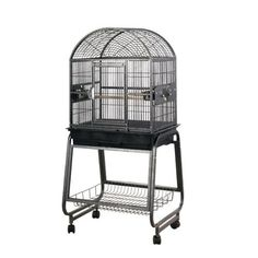 "$169.00-$169.00 HQ's Opening Dome Top Parrot cage is a perfect home for small parrot. Great for smaller parrots like Conures and Quakers. 1/2"" bar spacing. Comes with 3 stainless steel feeders and Cart Stand."