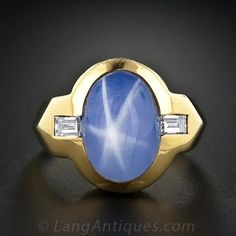 Gent's Star Sapphire and Diamond Ring - 30-1-1424 - Lang Antiques