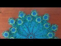 Toalha Penas de Pavão / Peacock Feather redonda crochê - Professora Maria Rita - YouTube