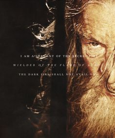 Gandalf: I am a servant of the Secret Fire. Wielder of the Flame of Arnor. The Dark Flame shall not avail you. #lotr