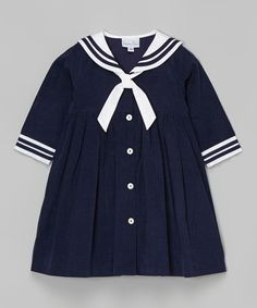 ! Navy Sailor Corduroy Dress