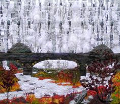 RESERVED. Do not purchase. Elan Valley Textile wall hanging Waterfall Dam water landscape wall hanging