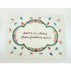 Vintage reworked embroidery 'home is where by Intwosandthrees <NEED