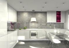 projekt wnętrza loftu A - kuchnią i jadalnią