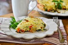 Bacon & Potato Frittata by Full Fork Ahead - Recipe from Gourmet Live. An easy meal that's great for any time of day. This one features potatoes, spinach, roasted red peppers, provolone cheese and fresh herbs. Make as is or switch up some of the ingredients.