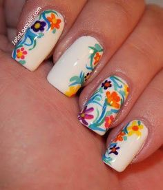 Floral Nails on white background, very Spring Trendy design.