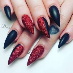 Black and red pointy nail design