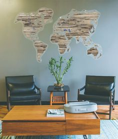 Grey Tigerwood World Map Wood by GaDenMap. Push Pin travel map for wall decor in office room, bedroom, living room, kid's room decorating. Gray Rustic World Map by GaDenMap. Push Pin travel map for wall decor in office room, bedroom, living room, kid's room decorating. Unique gift idea for travelers #mapwalldecor #homedecor #wallart Wooden Wall Decor, Wood Wall Art, Wall Art Decor, World Map Wall Decor, Wood World Map, Branch Decor, Office Decor, Farmhouse Decor, Maps