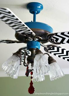 Update ceiling fans instead of buying new. Cute ideas (this chevron isn't my favorite but the method is good). The boy fan is really cute....Dimples and Tangles: Sassy Ceiling Fans